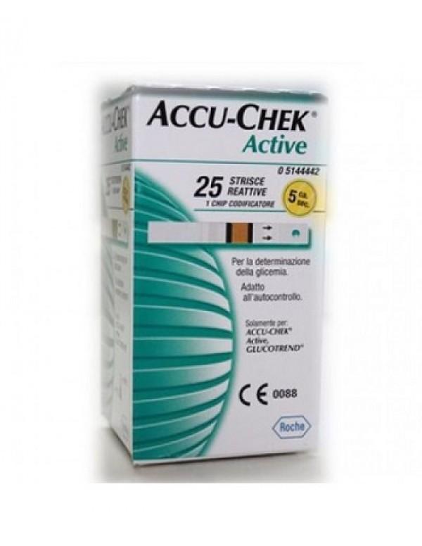 ACCU CHEK ACTIVE STRIPS 25PZ